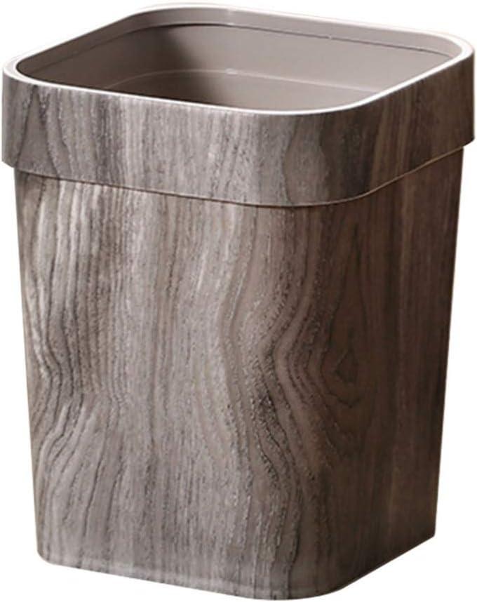 GARNECK Home Trash Bin Rustic Trash Can Wood Color Trash Can Rustic Waste Bin Kitchen Storage Bin for Bathroom Office Bedroom Living Room Home Decoration (Grey)