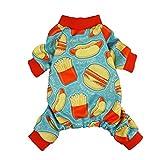 Fitwarm Hamburger Pet Clothes for Dog Pajamas Cat PJS Jumpsuits Blue Medium