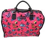 Betsey Johnson Large Nylon Weekender Duffel Bag, Fushia/Cats