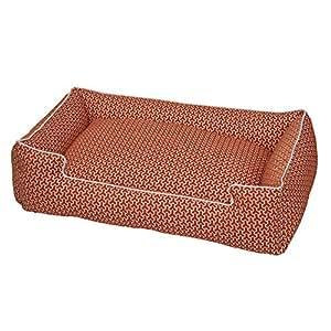Jax and Bones  32 x 27 x 10-Inch Premium Cotton Blend Lounge Dog Bed, Medium, Eve Orange