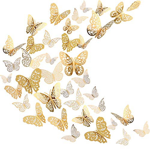 Bememo 3D Butterfly Wall Sticker Wall Decal Flying Decor Art Decorations in 6 for Room Home Nursery Classroom Offices Decor, Gold 72 Pieces