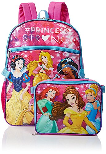 Princess Girls School Backpack Lunch Box Book Bag SET (Princess Kids Backpack)
