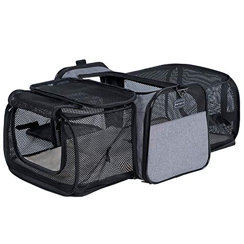 Petsfit Most Airline Approved Solid Expandable Carrier with 2 Large Extension for Pets up to 15 Pounds