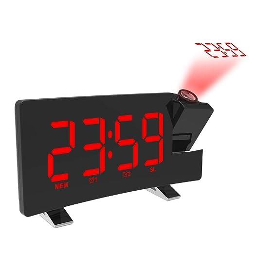 NCBH Reloj Despertador de proyección LED Pantalla Curva Proyector ...