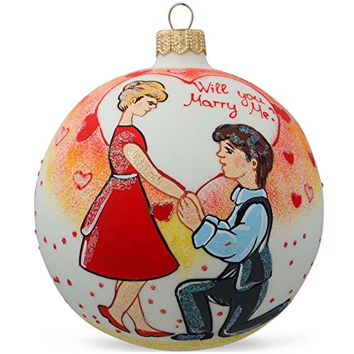 Bestpysanky 4 will you marry me engagement glass ball for Engagement christmas tree ornaments