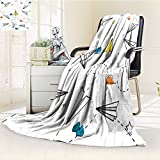 Fleece Blanket 300 GSM Paper Airplanes Background. Vector Illustration Anti-Static Double-Sides Reversible Super Soft Warm Fuzzy Bed Blanket(60'x 50')