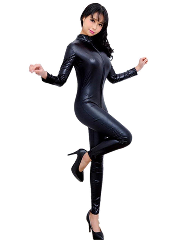 Susenstone Jumpsuits Leather Underwear Zipper Lingerie Hollow Nightdress Black) Susenstone - 3775
