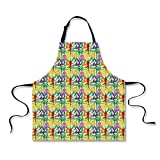 iPrint Cooking Apron,Yoga,Colorful Meditation Pattern with Various Poses from Eastern Asian Spiritual Movement Decorative,Multicolor,3D Print Apron.29.5''x26.3''