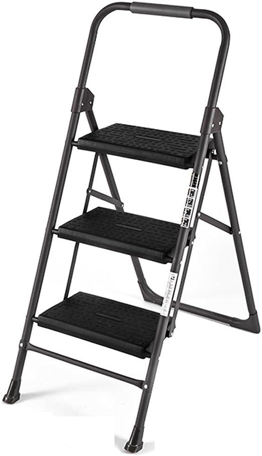 Eeayyygch - Escalera Plegable de Aluminio para Escalera, 3 escalones, Escalera pequeña con pasamanos: Amazon.es: Hogar