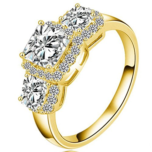 FENDINA Womens Wedding Engagement Rings Triple CZ Crystal Promise Rings for Her - 18K Gold Plated & Created Emerald Cut (Emerald Cut Emerald Stone)