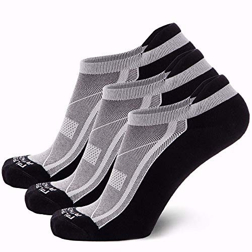 Pure Athlete Bamboo Low Cut Running Socks for Men and Women - Anti-Blister, Cushioned, Comfortable (Black - 3 Pairs, Small/Medium)