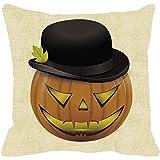 Pillow Case Neartime Halloween Pumpkin Square Pillow Cover Cushion Case Zipper Closure Pillowcase (Free, C)