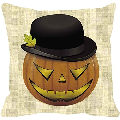 Pillow Case Neartime Halloween Pumpkin Square Pillow Cover Cushion Case Zipper Closure Pillowcase (Free, C) by NEARTIME (Image #1)