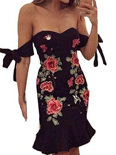 Embroidery Black Prints Off Women's Shouder Bodycon Jaycargogo Dress Sexy X8Iq8g