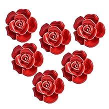 Yazer 6Pack Antique 40MM Ceramic Rose Flower Flora Vintage Cabinet Drawer Knobs Pulls Hardware Dresser Handles for Home Decoration with Screws (Red)