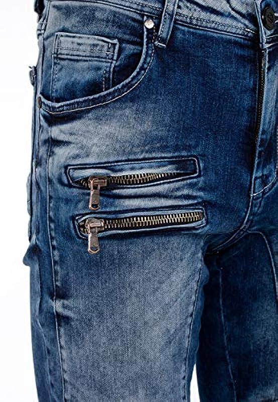 Cipo & Baxx W38 L32 dżinsy męskie, regular fit, dżinsy denim z zamkiem błyskawicznym, 5 kieszeni: Odzież