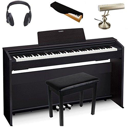 Casio PX870 Black | Super Bundle | Includes Headphones + Piano Bench + Piano Dust Cover + Piano Lamp (Cover For Piano Casio)