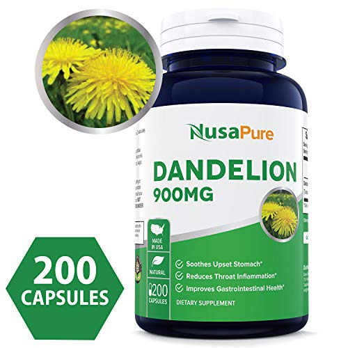 Dandelion 900mg 200 Capsules (Non-GMO & Gluten Free) Taraxacum Officinale - Helps to Detox Cleanse Kidney, Liver & Whole Body - 450mg per Caps (Large Dandelion)