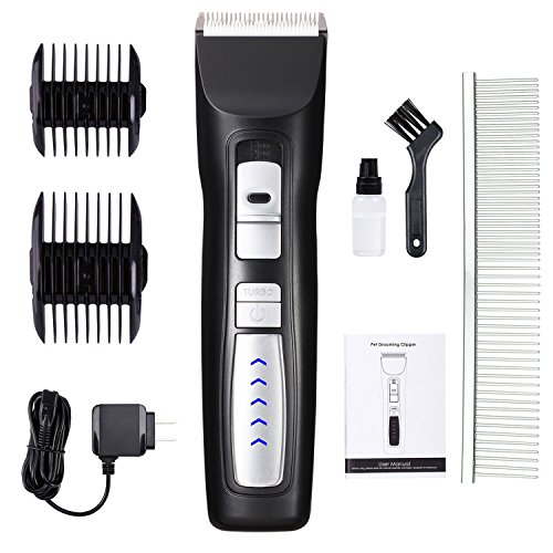 Dog Clippers 2-Speed Professional Rechargeable Cordless Pet Grooming Clippers Kit with Low Noise and Safety Blade Design for Thick Coats