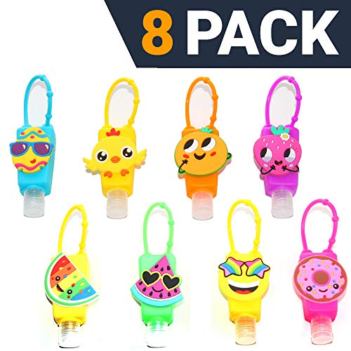 KINIA 8 Pack Mixed Kids Hand Sanitizer Travel Sized Keychain Carriers - 8-1 fl oz Flip Cap Reusable Portable Bottles (8-Variety Pack MIXED) (Best Hand Sanitizer Brands In India)
