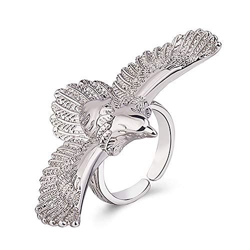 (Unique Flying Eagle Biker Ring Cool Punk Men's Animal Wing Vintage Adjustable Open Finger Ring Jewelry (Silver))
