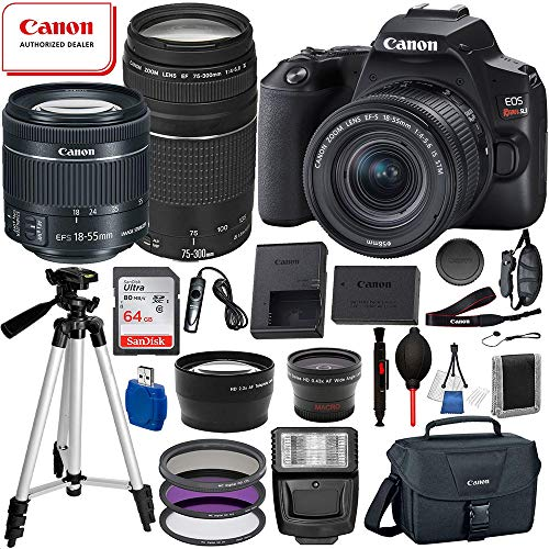 Canon EOS Rebel SL3 DSLR Camera (Black) with 18-55mm is STM and 75-300mm III USM Essential Bundle: Includes – 64GB SanDisk Highspeed Memory Card + 50″ Tripod + Professional Canon Bag + More