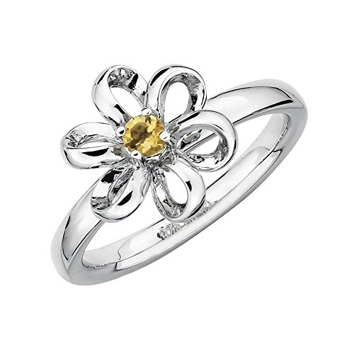 Citrine Flower Stackable Ring - Size 10 PDF