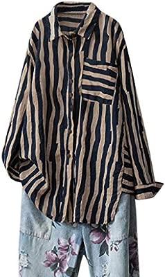 JYJM - Camiseta de Manga Larga para Mujer, algodón y Lino, diseño ...