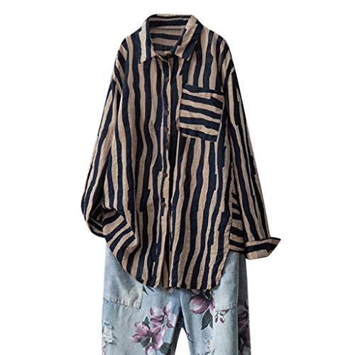 Toimothcn Women Loose Cotton Linen Shirts Long Sleeve