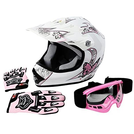 TCMT DOT Youth Pink Butterfly Dirt Bike ATV Helmet Motocross+Goggles+Gloves (XL