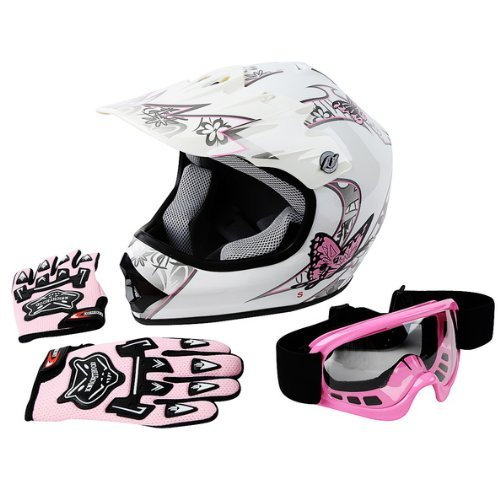TCMT DOT Youth Pink Butterfly Dirt Bike ATV Helmet Motocross+Goggles+Gloves (XL, Pink...