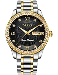 OLEVS Luxury Mens Tungsten Steel Gold/Blue/White/Black Dial Diamond Quartz Wrist Watches, Waterproof & Luminous...