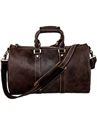 S-ZONE Crazy Horse Genuine Leather Travel Tote Luggage Duffel Handbag