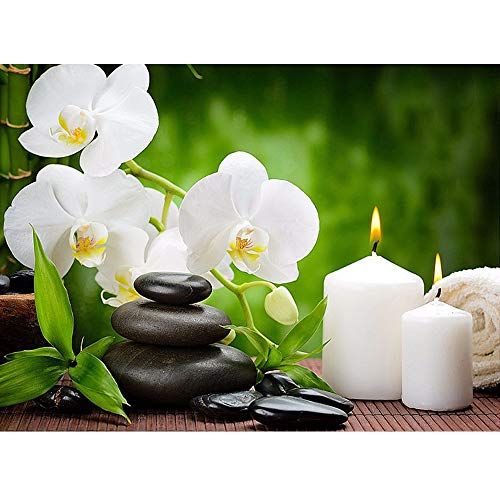 (24x34cm)5D White Flowers, Candle & Stones Mosaic Full DIY Diamond Painting Cross Stitch Wall Decor Zen Blossoms Diamond Embroidery Gifts ()