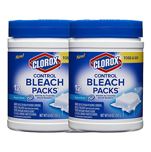Clorox Control Regular Bleach Packs, Water Activated Solid Bleach, Toss and Go, Regular Scent, 12 Count, (2 Pack) (Bleach Pods)