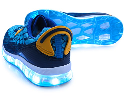 Mr.Ang 7 Farben LED Schuhe USB Aufladen Leuchtschuhe Licht Blinkschuhe Leuchtende Sport Sneaker Light Up Turnschuhe Damen Herren Kinder 1708 Blau