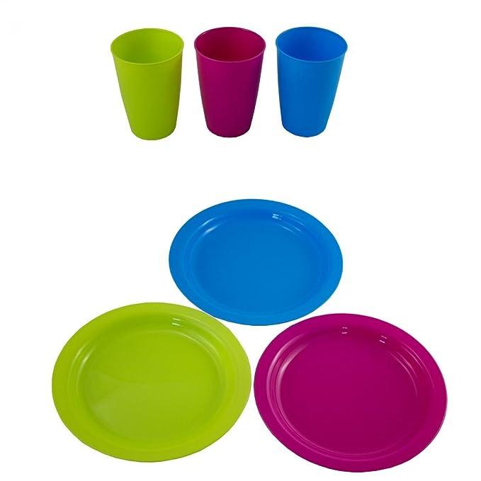 Mehrweg Kunststoff Teller 6er-Set Mehrweggeschirr Partyteller Plastikgeschirr