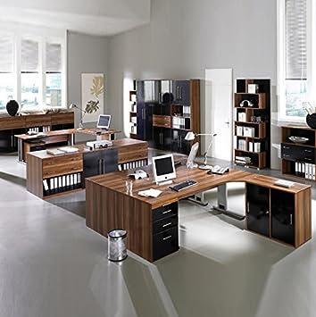 Komplett Büromöbel Set Hochglanz schwarz, Nussbaum Aktenschrank ...