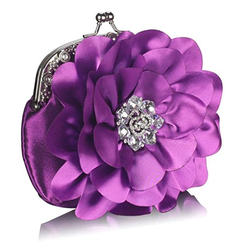 Evening For FLOWER Prom Clutch Bridal CWE00143 CLUTCH Purse Women's LeahWard Flower Bag Out DIAMANTE Night PURPLE Soft WITH U6ttq0