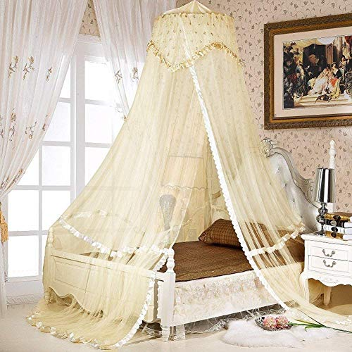 Woopoo Baby Crib Canopy Netting Luxury Princess Bed Net Round Hoop Netting Mosquito Net Bedroom Decor (Yellow)