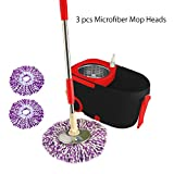 BAYCHEER Easy Spin 360° Press Microfiber Wet Spin Mop and Bucket...
