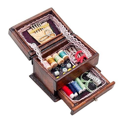 Odoria 1/12 Miniatura Caja de Coser Decorativo para Casa de Muñecas