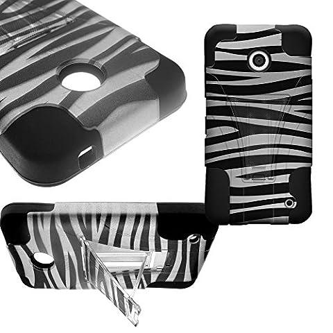 CoverON Kickstand Hard + Soft Dual Layer Hybrid Case for Nokia Lumia 635 - Black Silver Zebra Design Hard Plastic + Black Soft (Nokia Lumia 635 Cases For Guys)