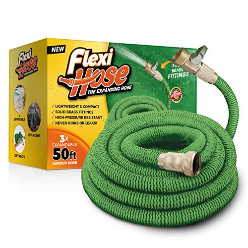 Flexi Hose Upgraded Expandable 50 FT Garden Hose, Extra Strength, 3/4″ Solid Brass Fittings – The Ultimate No-Kink Flexible Water Hose (Green)
