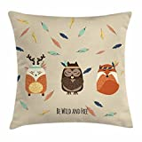 Woodland Throw Pillow Cushion Cover, Hand Drawn Boho Tribal Owl Deer and Fox in Meditation with Falling Feathers Pastel, Decorative Square Accent Pillow Case, 18 X 18 Inches, Multicolor