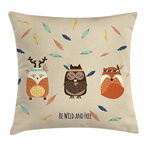 Woodland Throw Pillow Cushion Cover, Hand Drawn Boho Tribal Owl Deer and Fox in Meditation with Falling Feathers Pastel, Decorative Square Accent Pillow Case, 18 X 18 Inches, Multicolor carrotdnrl