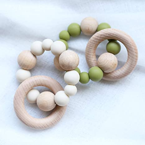 Baby Toys Silicone Beads Baby Nursing Bracelet Wood Rings Wooden Rattles Baby Grasping Toys,Green/&Grey