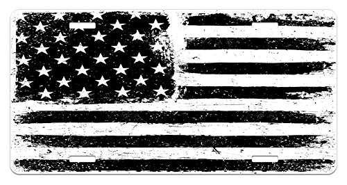 United States License Plate by Ambesonne, Grunge Aged Black and White American Flag Independence Fourth of July Design, High Gloss Aluminum Novelty Plate, 5.88 L X 11.88 W Inches, Black White Custom Novelty License Plate