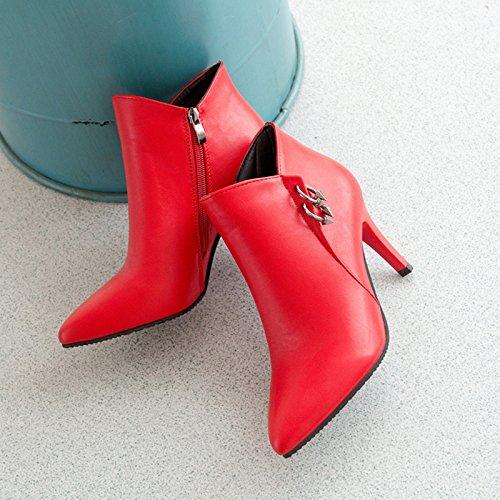Ch & Tou Des Femmes-bottes Casual-confortable-a-stiletto Pu (polyuréthane) -black Rouge Gris Us7.5 / Eu38 / Uk5.5 / Cn38
