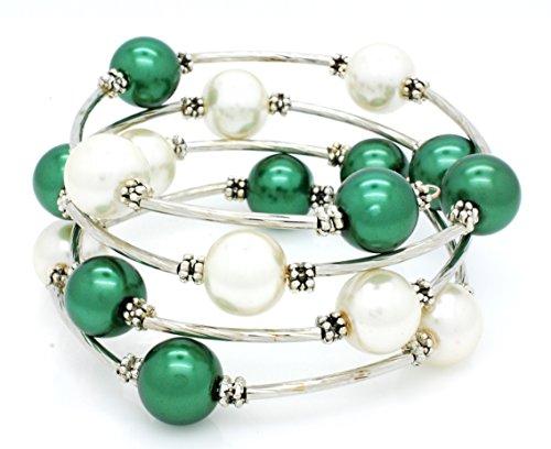 Memory Wire Wrap Bracelet - Faux Pearl - Rhodium Plated - Green, White Eagles Bracelet ()